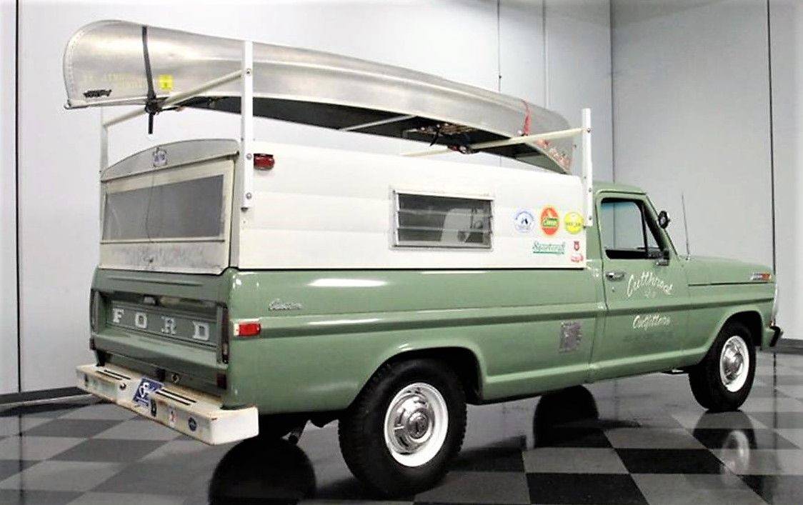 1971 Ford F 250 Pick Up With Green Mist Shade Exterior And Camper Top Over Bed With A Canoe Rack Old Ford Truck Classic Ford Trucks Ford Trucks