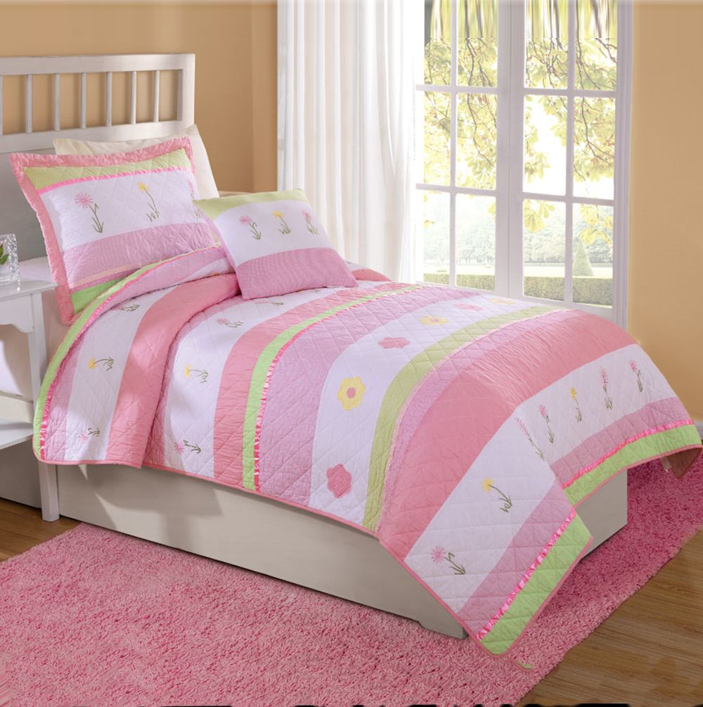 girl flower bedding  teen girl bedding  deco for kids  - pink  white tara stripe flower girls bedding twin quilt   sham new