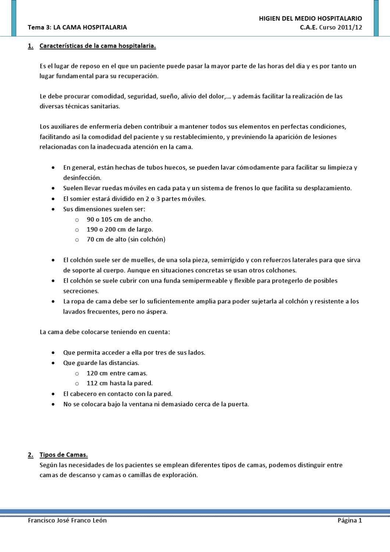 Hhl Tema 3 Cama Hospitalaria Auxiliar De Enfermeria Camas Hospitalarias Hospitalarios