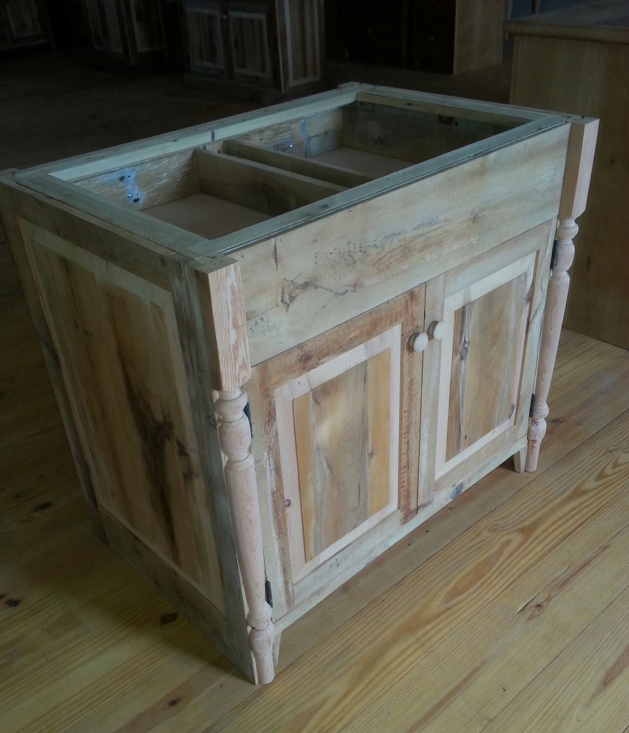 Reclaimed Barn Wood Kitchen Island With Drawers cabinet Slide Out