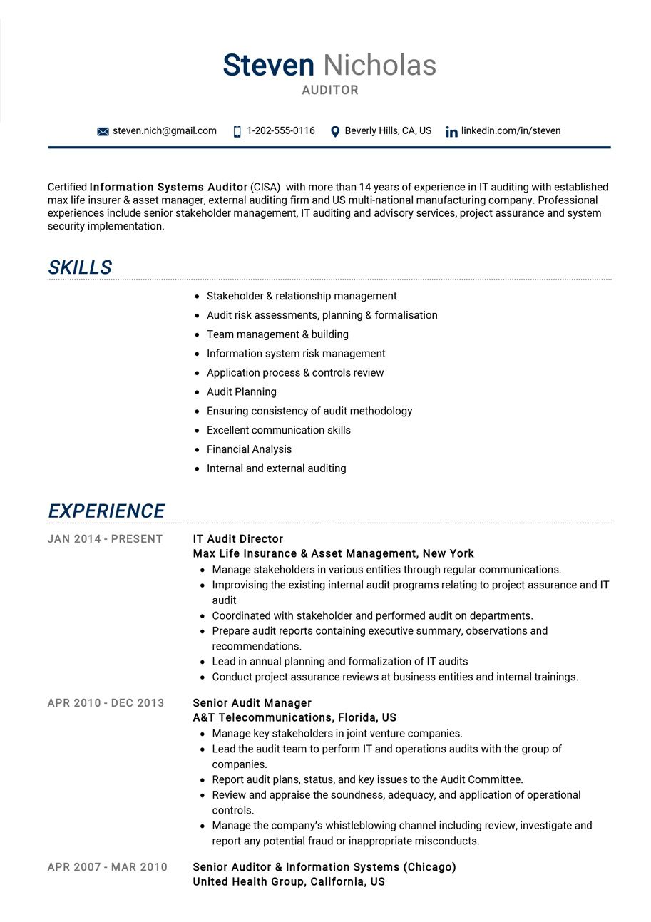 Auditor resume example resume examples internal audit