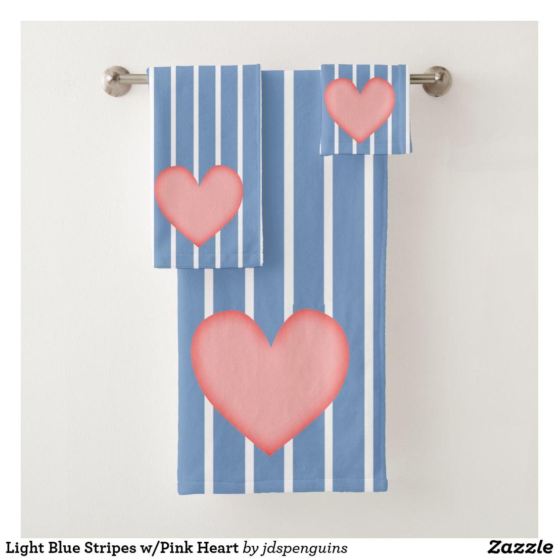 Light Blue Stripes w/Pink Heart Bath Towel Set | Bath towel sets ...