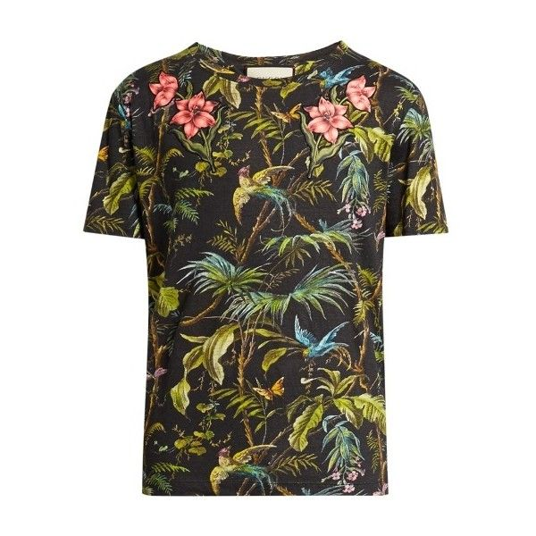 a9f4ba498 Gucci Jungle-print and appliqué linen T-shirt ($720) ❤ liked on Polyvore  featuring men's fashion, men's clothing, men's shirts, men's t-shirts,  green multi ...