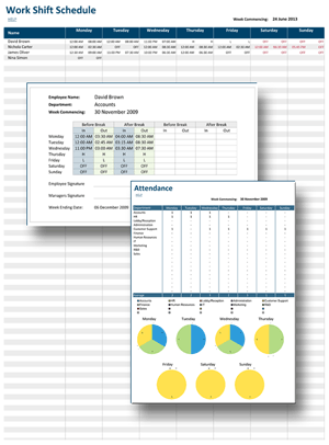 Create Printable Work Shift Schedule Individual Timesheets And