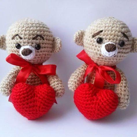 Crochet teddy bear with heart free amigurumi pattern | knuffels ...