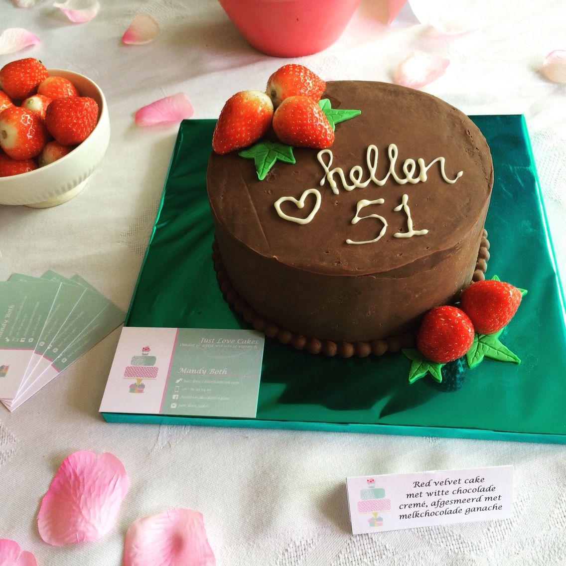 So cute! Red Velvet chocolate cake with strawberries for the birthday of Hellen.   Www.facebook.nl/JustlovecakesRotterdam