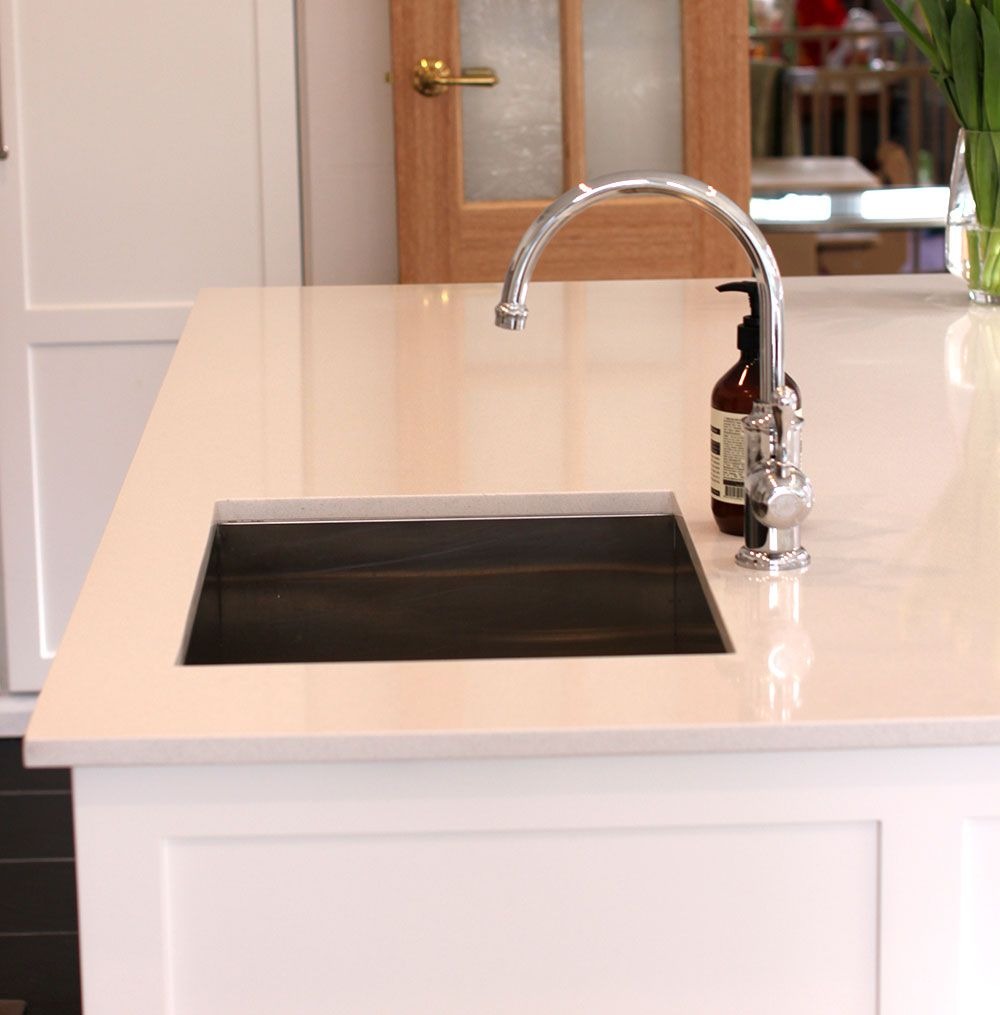 White Kitchen Taps: White Kitchen Bench Island With Brodware Tap