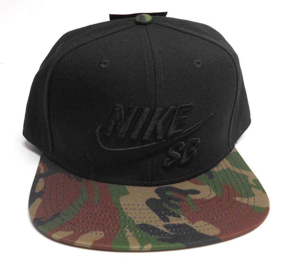 779cc8909b7 Nike SB Hat Skateboard Cap Camo Green Black Snap Back Adjustable Wide Brim   Nike  WideBrim