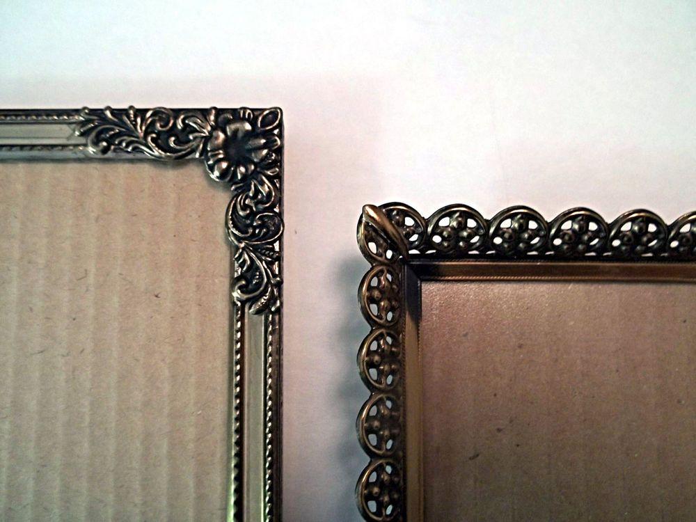 2 vintage metal picture frames aged gold tone metal ornate Hollywood ...