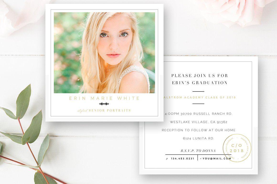 Senior Graduation Announcement Template Senior Card Template By Stephanie Design Graduation Announcements Graduation Announcement Template Wedding Photographer Business Cards