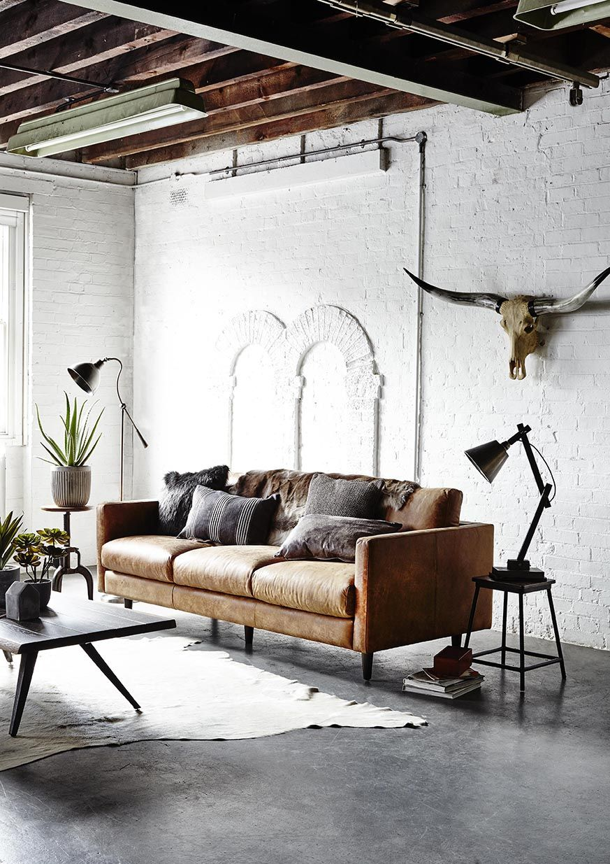 For A Classic Look That Never Gets Old Choose A Leather Sofa In Rustic Tan We In 2020 Industrial Decor Living Room Living Room Decor Rustic Home Interior Design #rustic #living #room #furniture #ideas