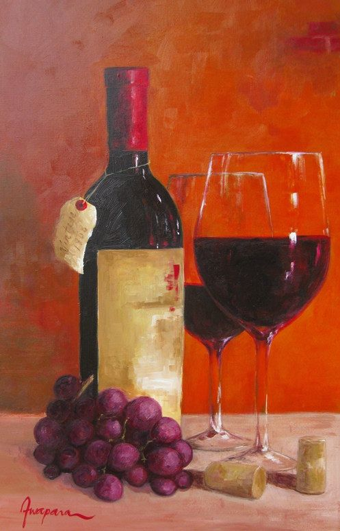 Art canvas acrylic painting wine bottle wine glass by for How to paint bottles with acrylic
