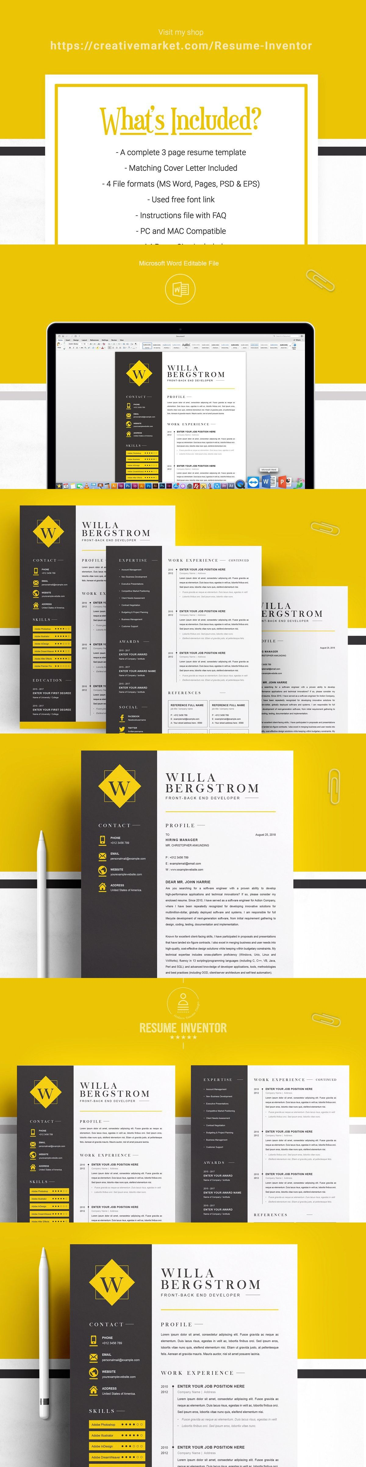 Minimal yellow resume template cv resume template