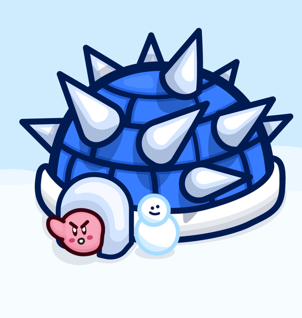 Kirby Stuck In A Blue Shell Igloo Kirby Shells Daily Drawing