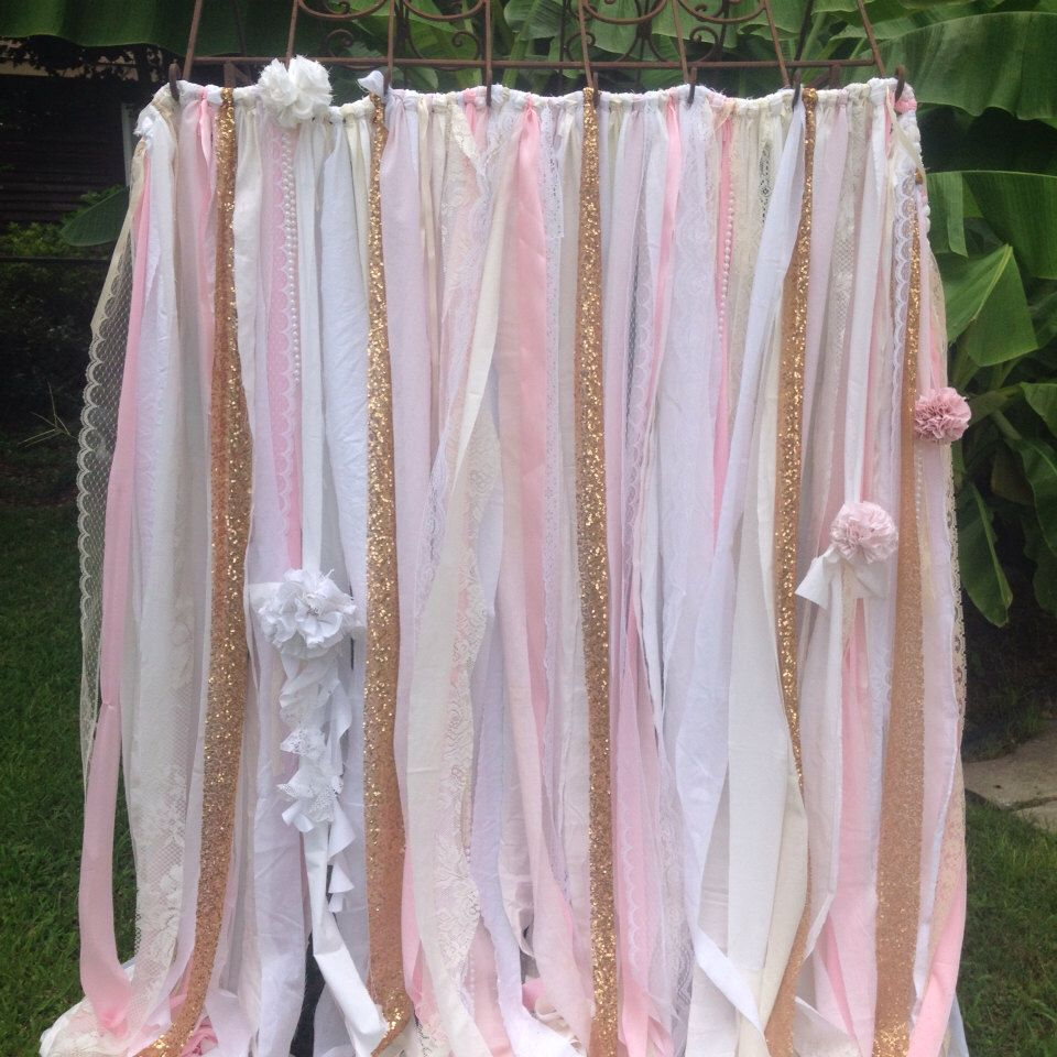 Pink Gold Sequin 8x8 Foot Long Photobooth Backdrop Fabric Ribbon Garland Sparkly White Ivory