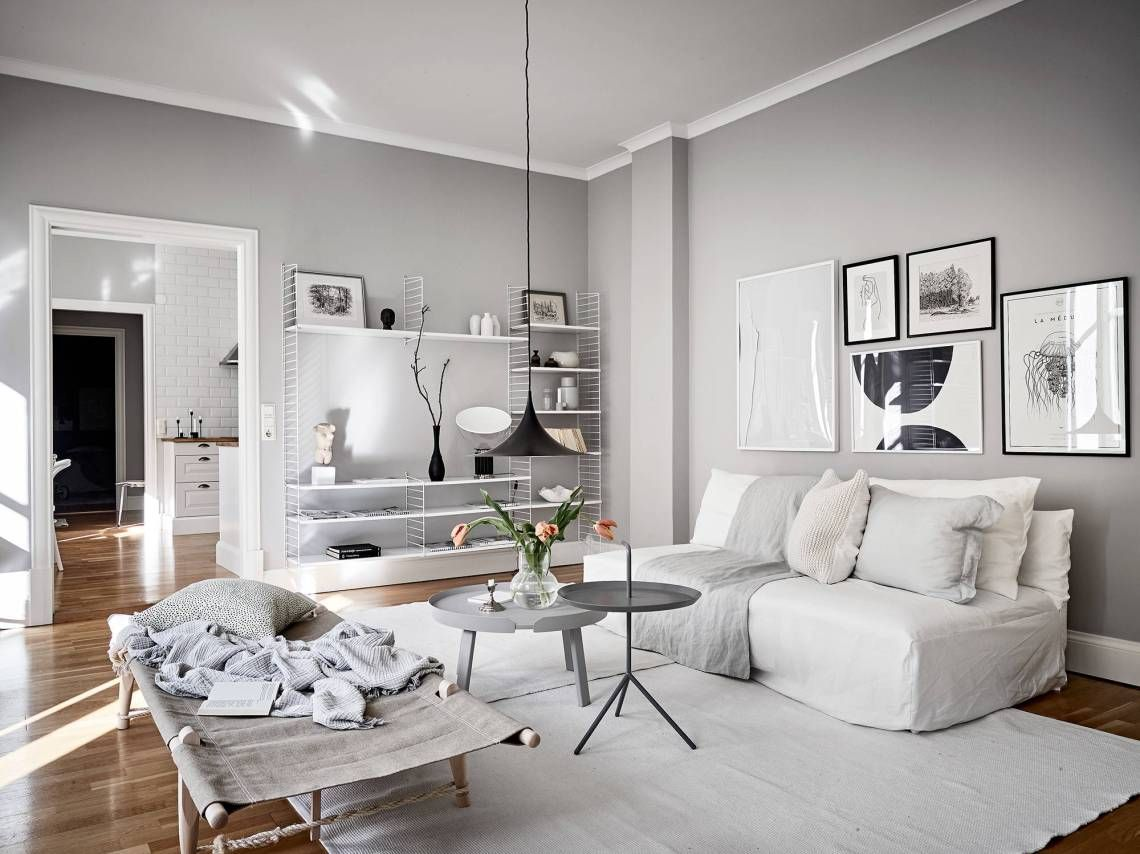 Light Flooded Home In Grey Coco Lapine Design Grey Walls Living Room Grey Walls Light Grey Walls Light grey paint for living room