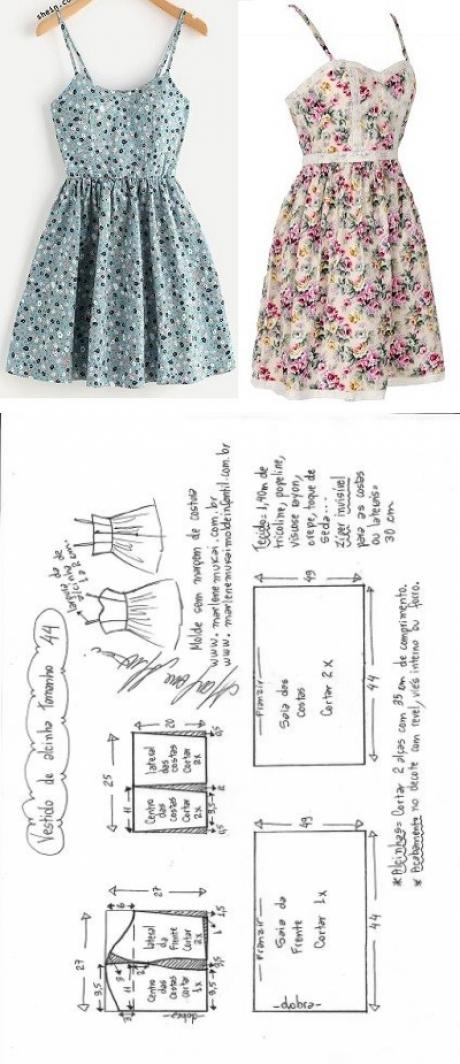 Vestido de alcinha com saia franzida   DIY - molde, corte e costura ...