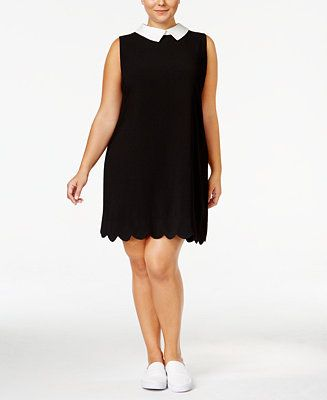 Monteau Trendy Plus Size Collared Dress - Dresses - Plus Sizes - Macy's