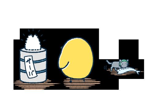 呆然とするゆるいひよこと魚をくわえる猫 イラストエッセイのaieku ひよこ イラスト ゆるいイラスト