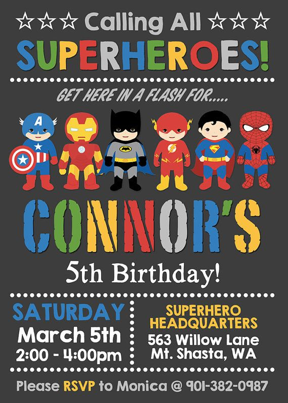 Superhero Party Invitations Personalised Birthday Party Invites