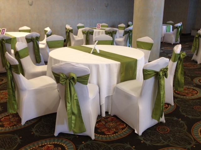 green banquet chair covers pride electric lift sage taffeta sashes on white spandex wedding www brownchaircovers com