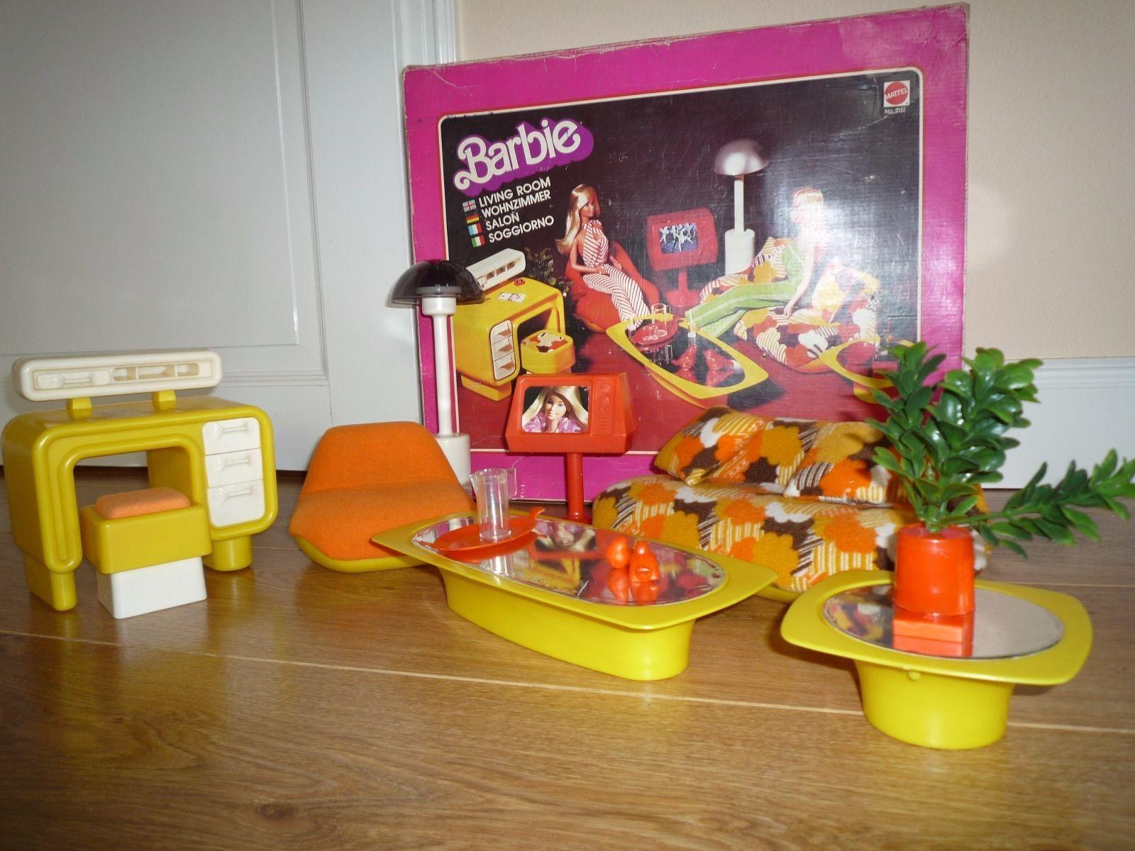 Barbie Wohnzimmer | Mattel Barbie Wohnzimmer 70er Jahre Vintage Mit Ovp Sammlerstuck
