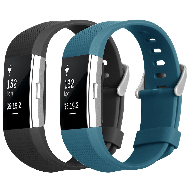 Silikoner Sport Armband Tracker Band für Fitbit Charge 2 Schwarz