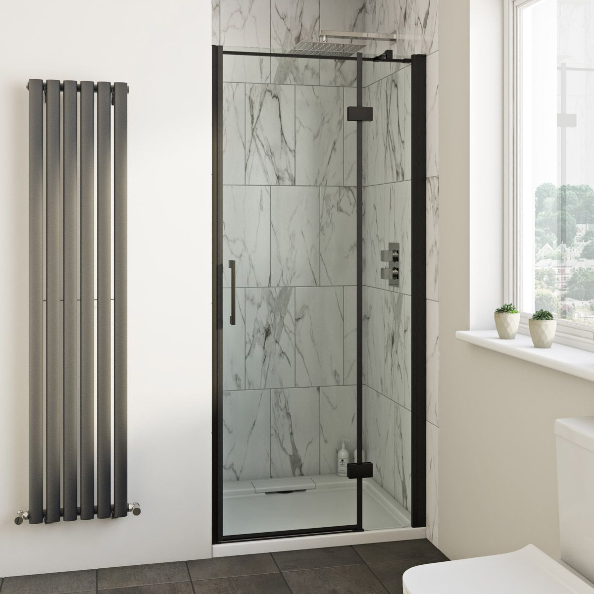 Mode Cooper Black Hinged Easy Clean Shower Door In 2020 Easy Clean Shower Shower Doors Clean Shower Doors