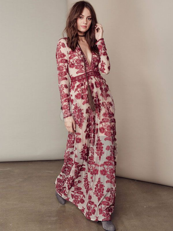 Impresión Floral morado escotado bordado vestido Maxi -No.2 ...