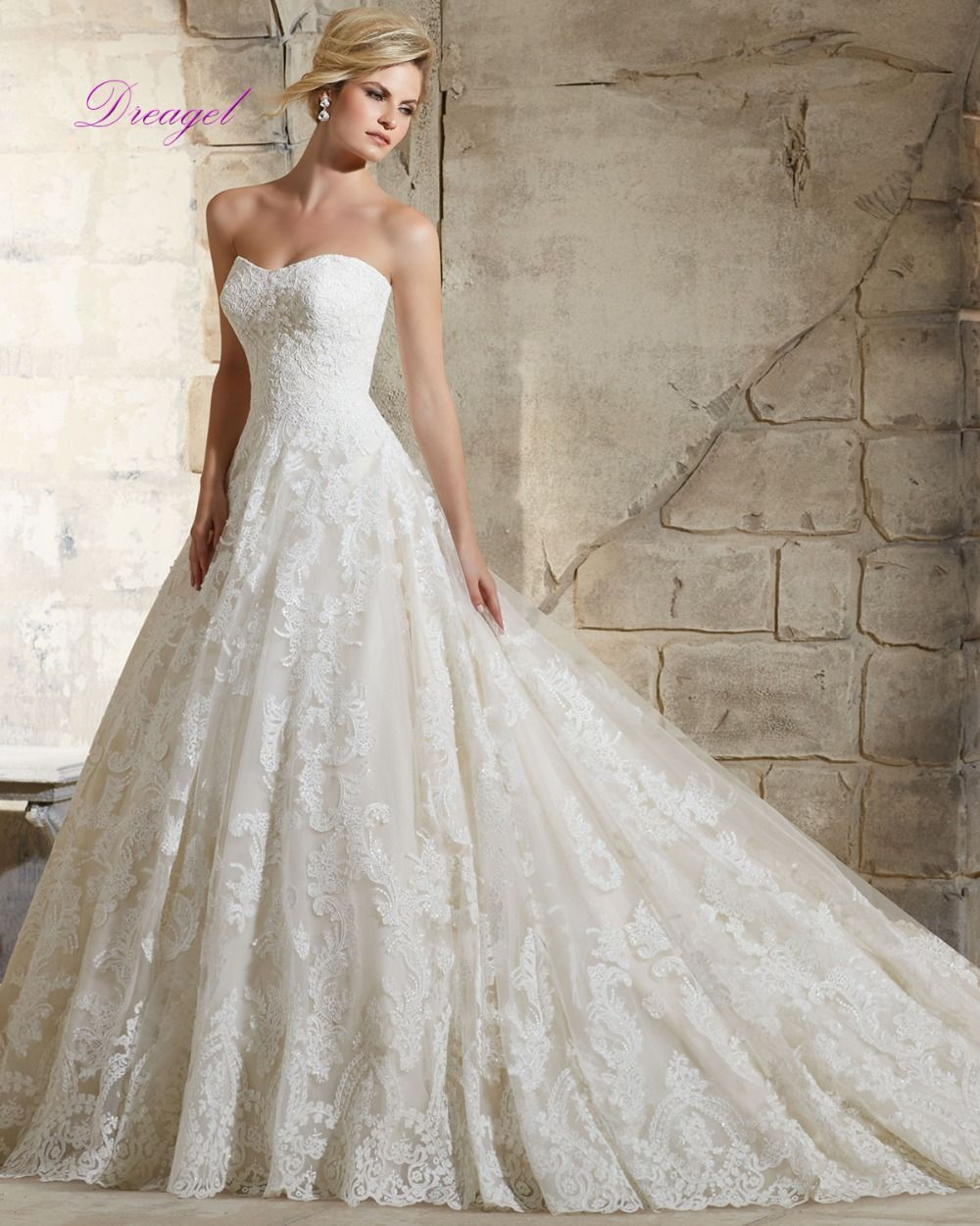 Dreagel new designer strapless zipper court train ball gown wedding