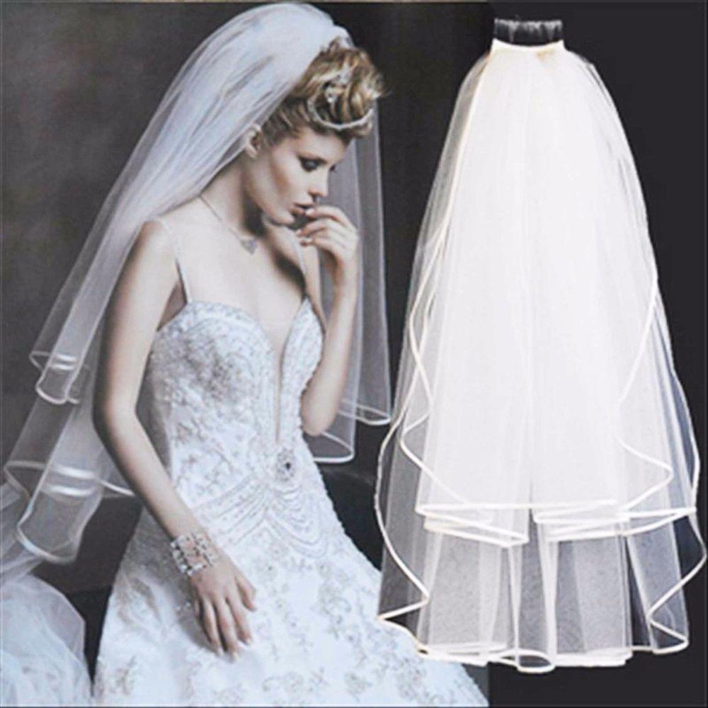 2 Tier White Satin Edge Bridal  Veil