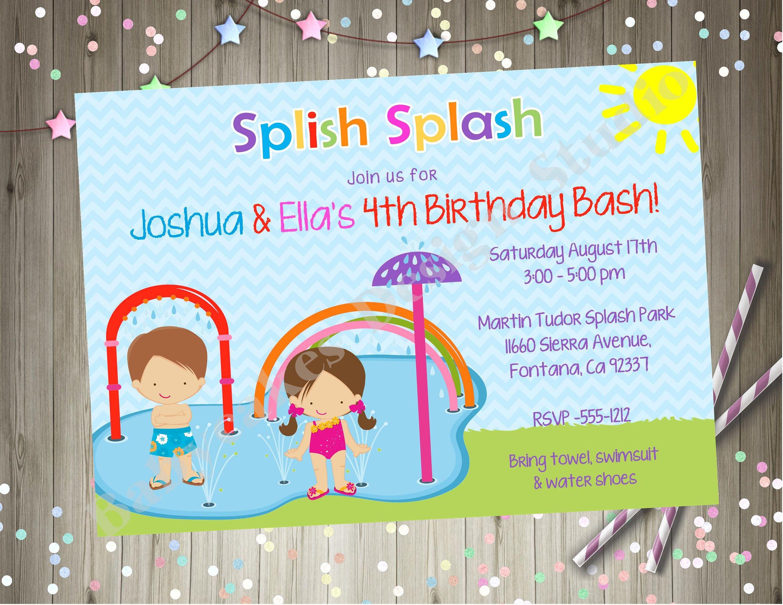 Splash pad birthday party invitation invite splish splash bash splash pad birthday party invitation invite splish splash bash siblings twins party printable invitation choose your stopboris Image collections