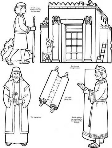 King Josiah Boy Temple Scroll Bible Coloring Pages Bible