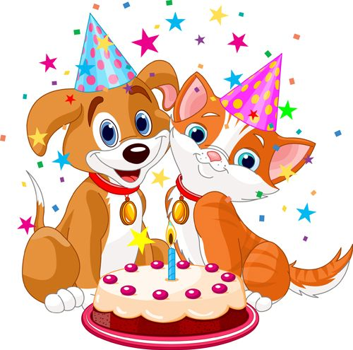 Cute Cartoon Cake Images : Cute cartoon animal with cake vector set Cut animals ...