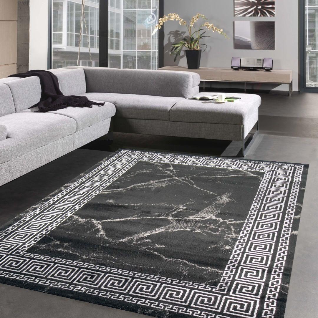 Wohnzimmer Marmor Optik Mit Bordure Versace Muster Schwarz Silber