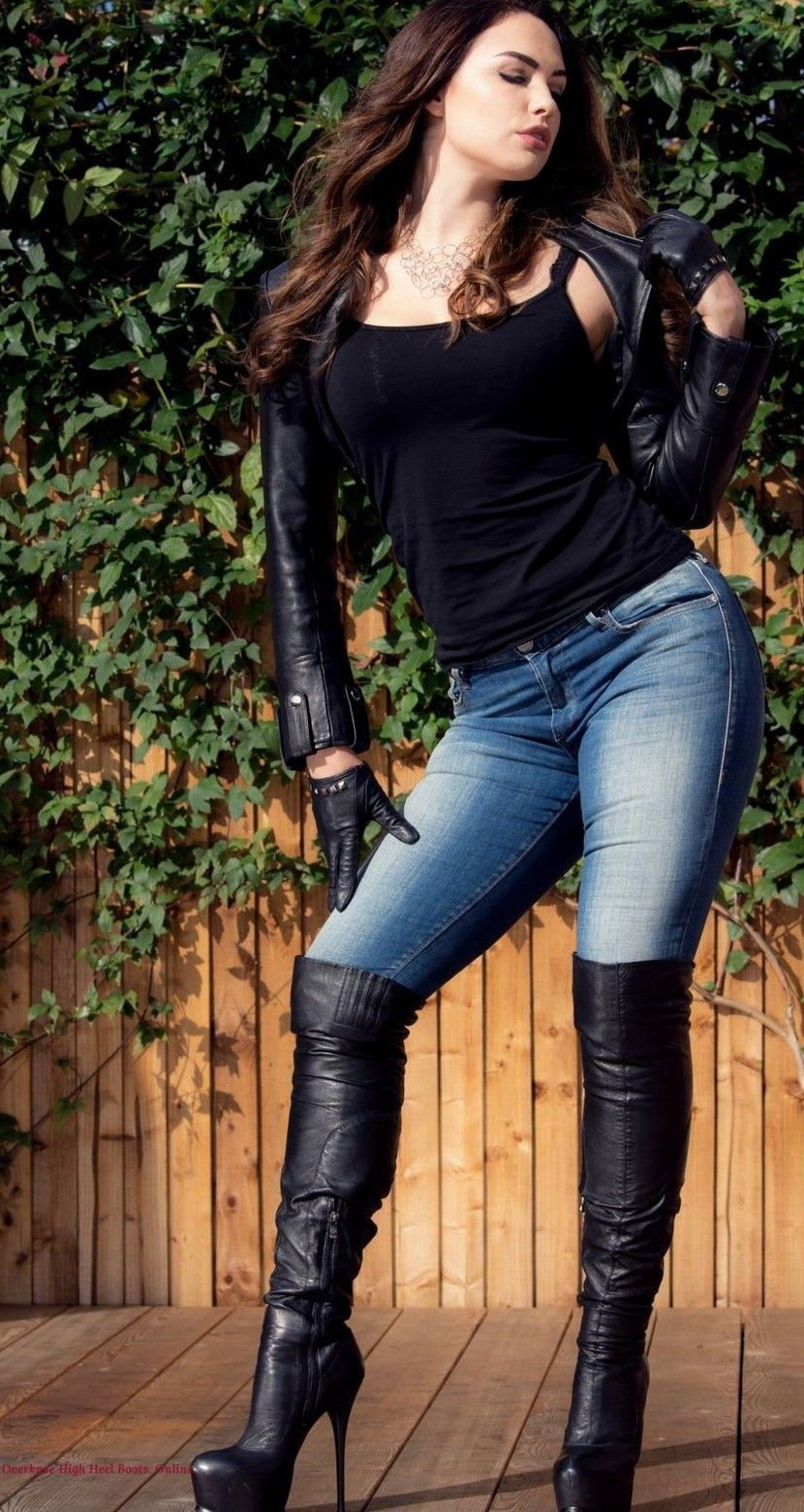 Black leather bolero jacket gloves jeans OTK boots
