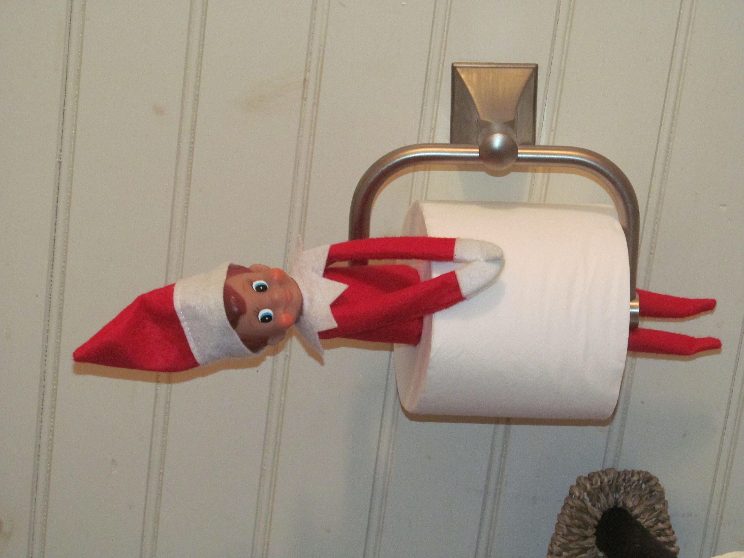 Elf on the shelf idea    Landed in the bathroom   EASY. Elf on the shelf idea    Landed in the bathroom   EASY   elf