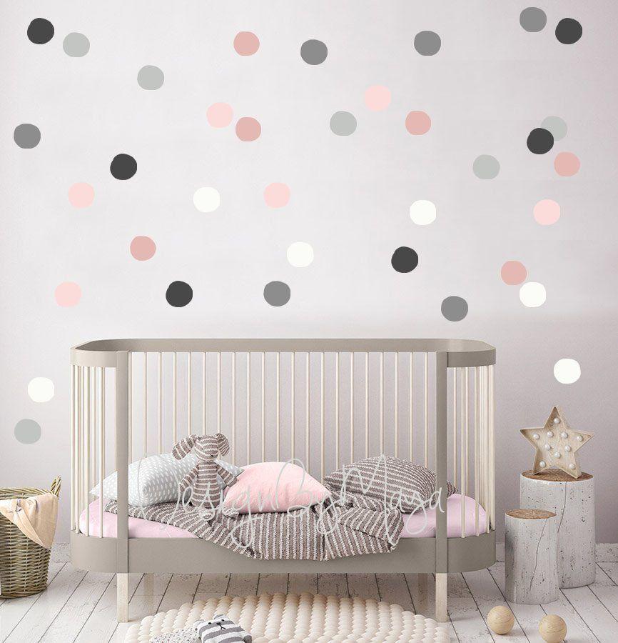 125 soft pink colour polka dots vinyl wall art sticker room decor decals wallart
