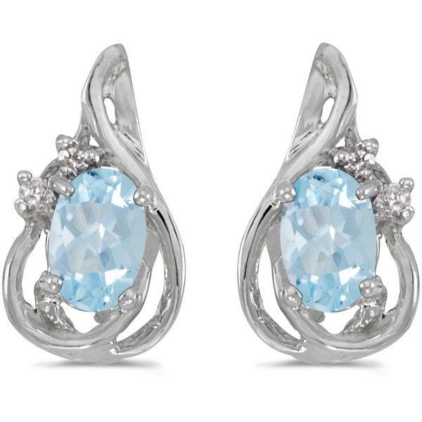14k White Gold Oval Aquamarine And Diamond Teardrop Earrings $298