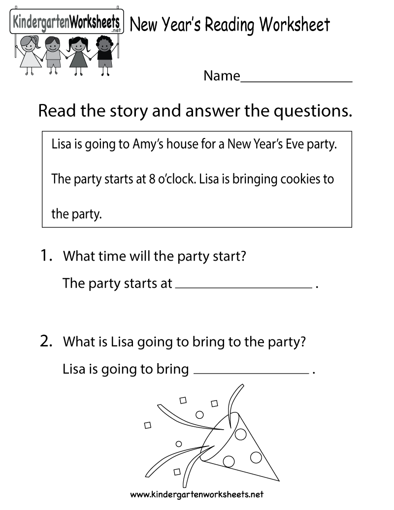 worksheet Preschool Reading Worksheets kindergarten new years reading worksheet printable activities for printable