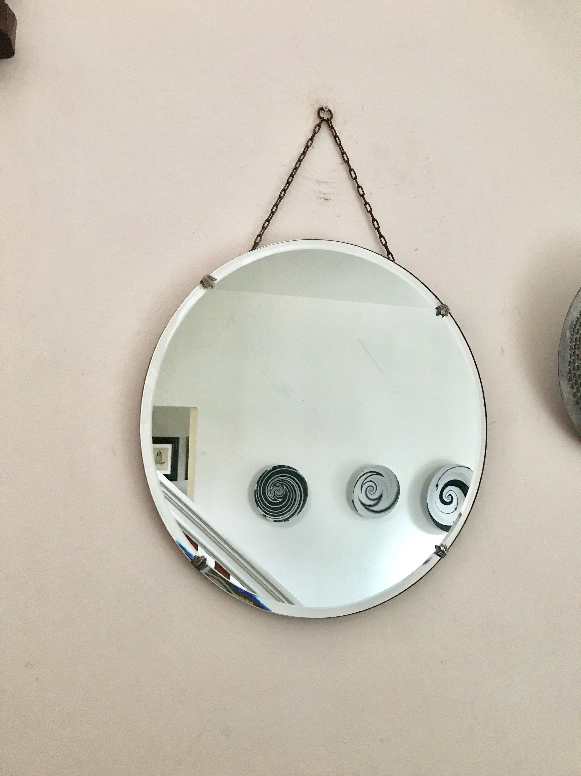 Round Art Deco Frameless Mirror With Scalloped Bevelled Etsy Art Deco Mirror Boho Mirrors Mirrors With Chains