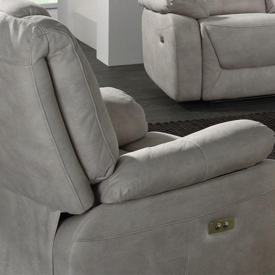 Fauteuil de relaxation électrique gris en tissu ODESSA