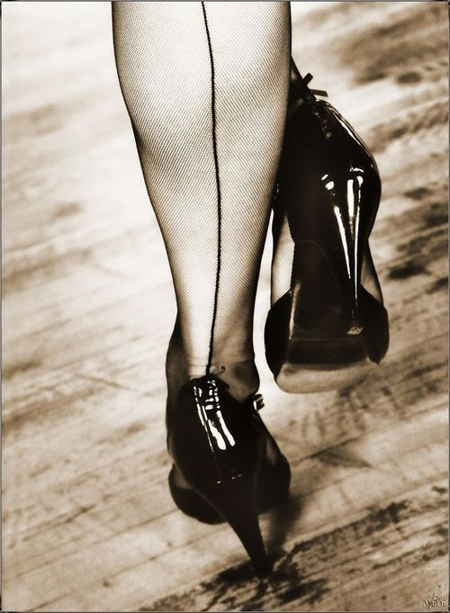 Stockings and heels.