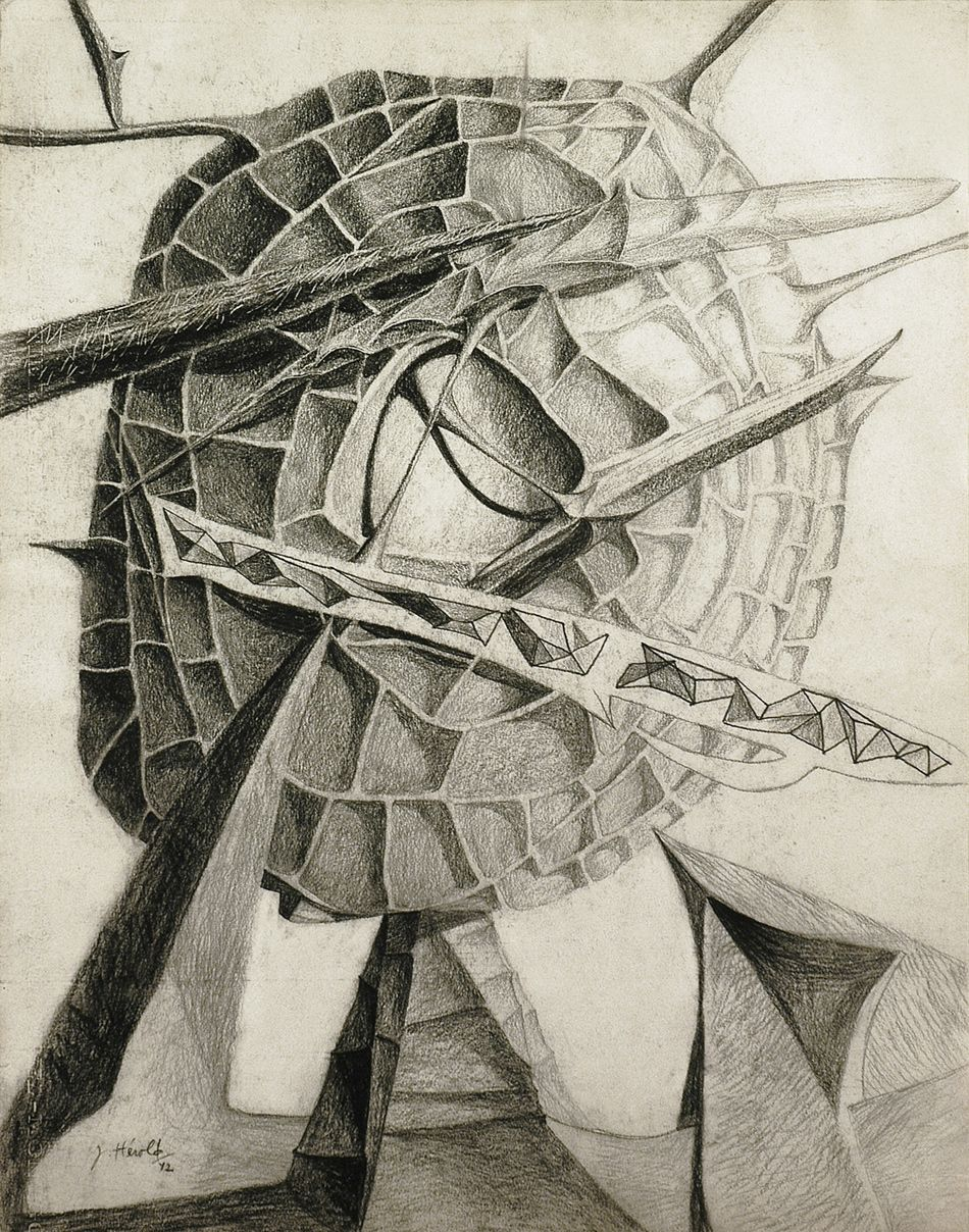 jacques h atilde copy rold crystallized head drawing surrealism