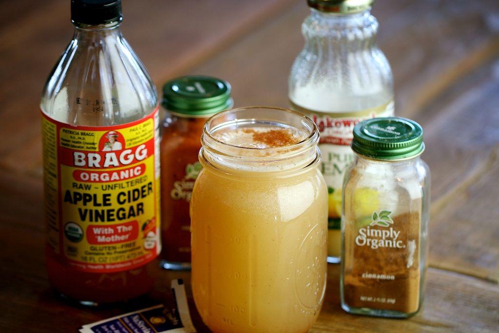 Detox Drink  1 glass of water (12-16 oz.)  2 Tbsp. apple cider vinegar  2 Tbsp. lemon juice  1 tsp. cinnamon  1 dash cayenne pepper (optional)  1 packet stevia