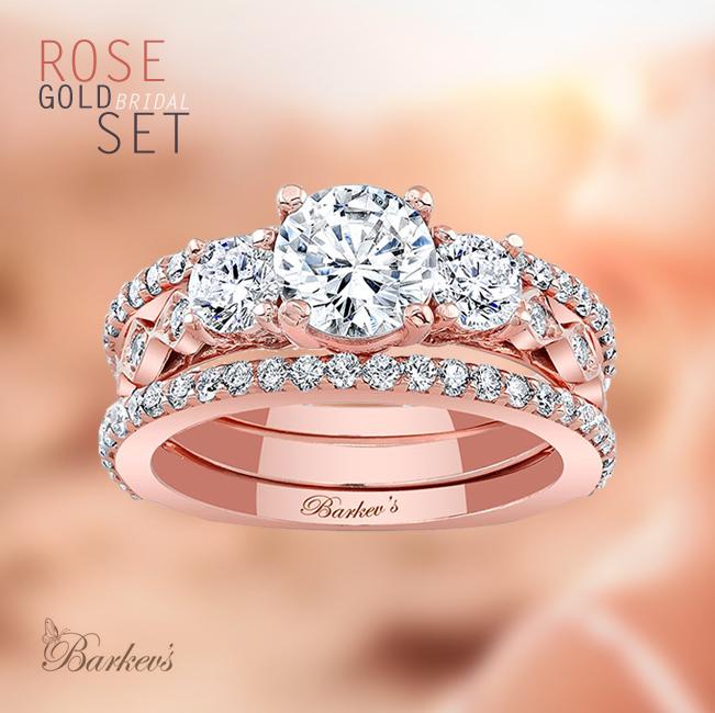 Barkev's Rose Gold Bridal Set 7973SP Barkev's Wedding