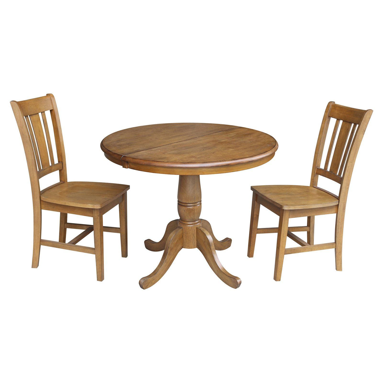 Sensational International Concepts Straight Pedestal Dining Table Set Caraccident5 Cool Chair Designs And Ideas Caraccident5Info