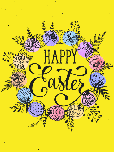 Bright Yellow Happy Easter Card Birthday Greeting Cards By Davia Happy Easter Greetings Easter Greetings Happy Easter Pictures