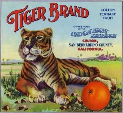 Tiger Brand, Colton Terrace Fruit, Colton Fruit Exchange, County of San Bernardino, California