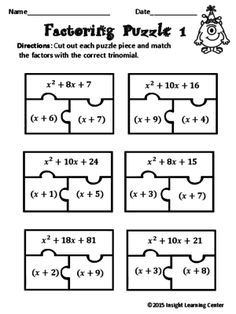 Factoring Polynomials Puzzle Algebra 2 Pinterest Math Algebra